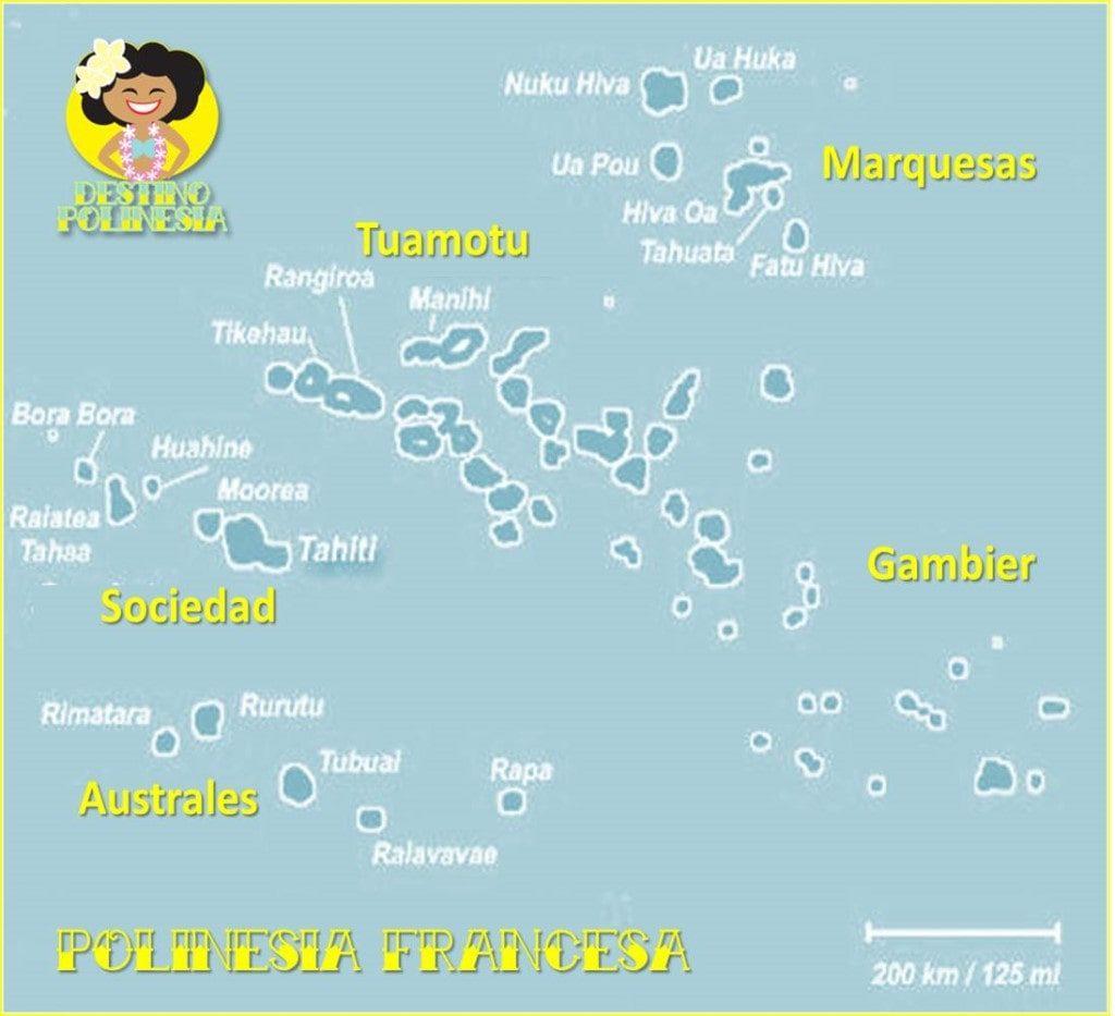 mapa islas Polinesia Francesa