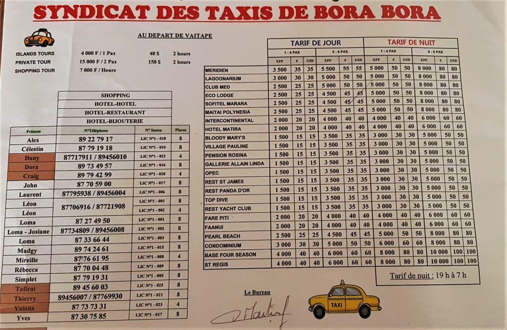 Bora Bora taxi